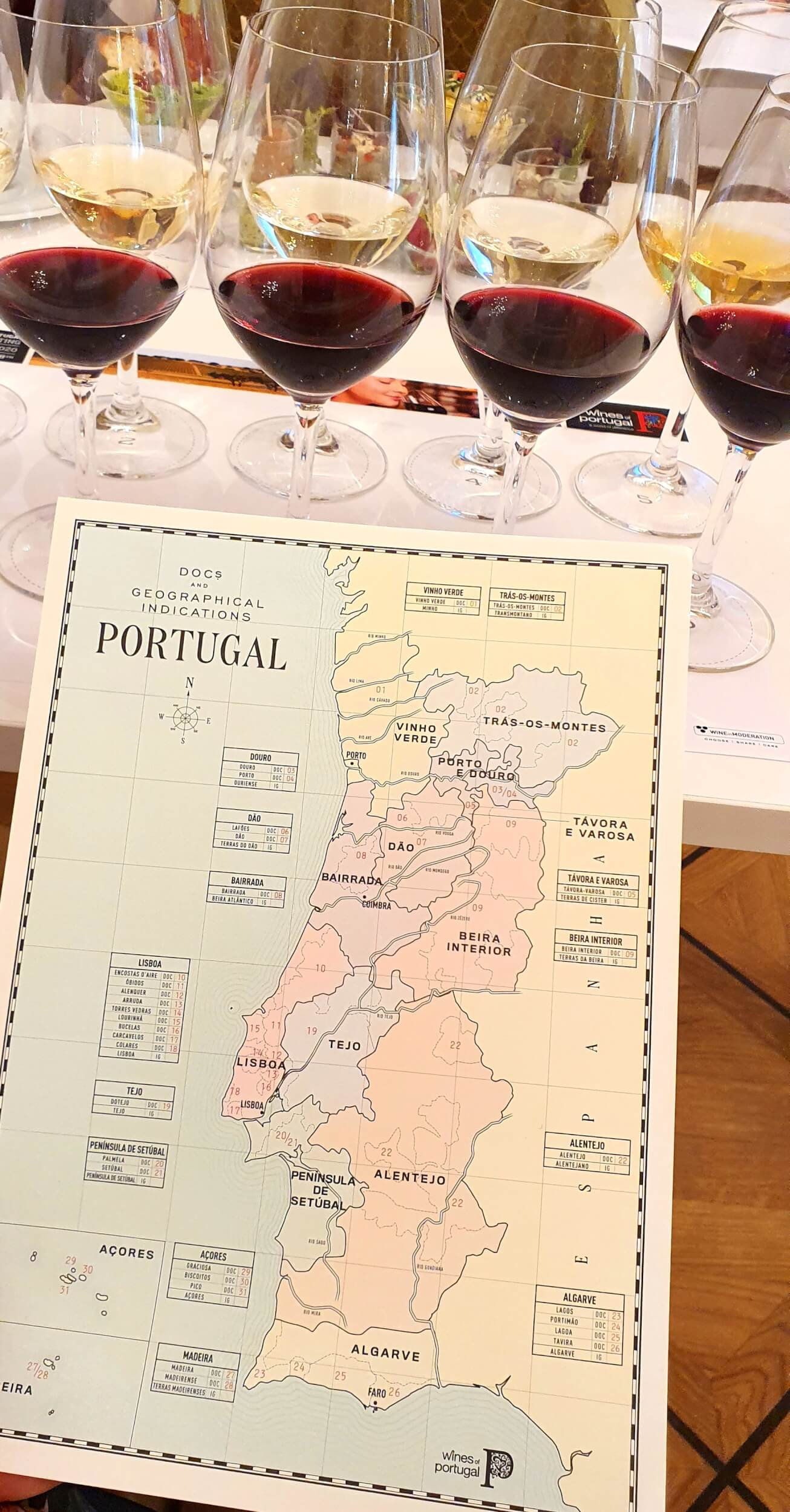 Mapa regionów winiarskich portugalii