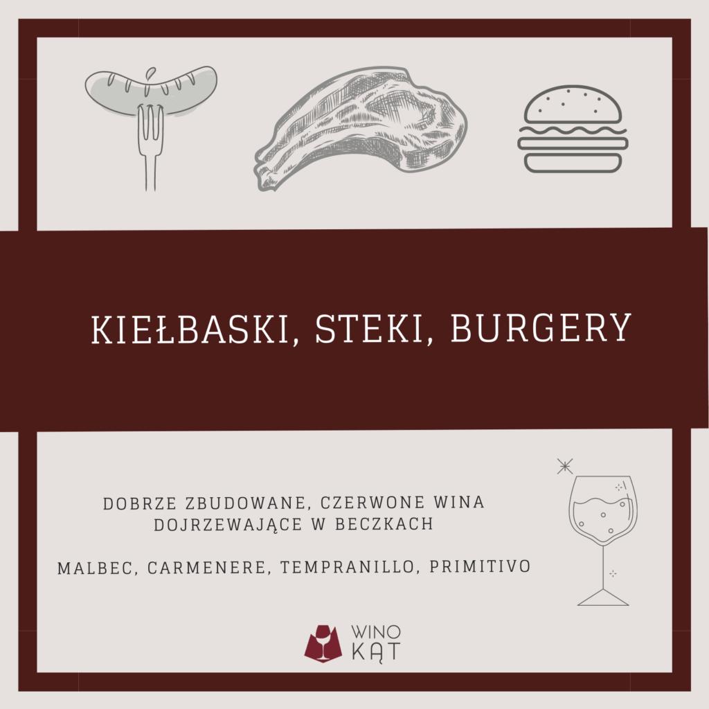 Wino dogrilla  kiełbaski, steki, burgery pasuje donich malbec, tempranillo, primitivo